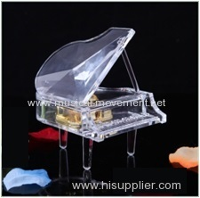 MINIATURE HAND WOUND ACRYLIC GRAND PIANO MUSIC BOX