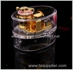OVAL CLEAR MUSIC BOX 18 NOTE GOLDEN METAL TOP KEY WIND MUSIC BOX MECHANISM