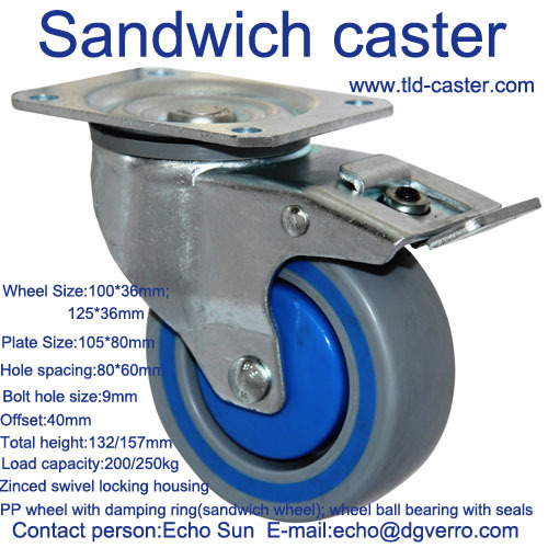 Pallet container swivel lockable ball bearing sandwich casters