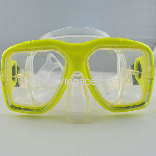 Glass lens silicone diving mask/diving goggles