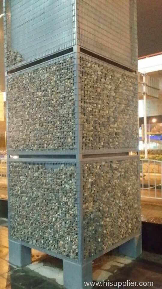 Welded Mesh stone cage is used as decoration