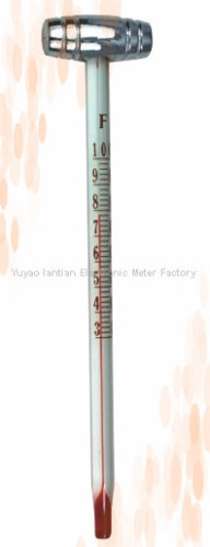 V shaped glass industrial thermometer