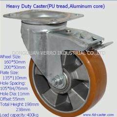 Industrial swivel heavy duty aliminum rim PU wheel braked casters