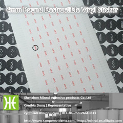 Custom 4mm Round Self Adhesive Destructible Vinyl Sticker label