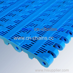 B50 perforated plastic conveyor belt in transport line