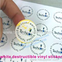 white vinyl warranty void labels