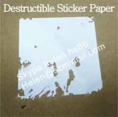 Matte White Self Destructive Sticker Paper on Roll or Sheet