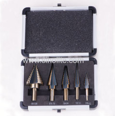 5pcs/set HSS Step Drill for sizes 3/16-1/2 1/8-1/2 1/4-3/4 3/16-7/8 1/4-1.3/8