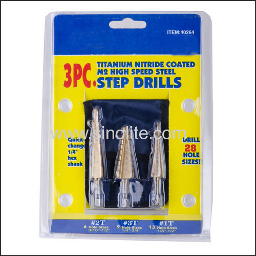 "Quick shank Step Drill titanium coated 3pcs/set 1/8""-1/2"" 1/4""-3/4"" 3/16""-1/2"""
