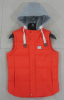 Detachable hood men vests with single color at Factory Price