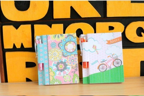cute blank pocket notebook with pen