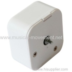 Square Plastic Cover Hand Wound Spring Driven Music Mechanism