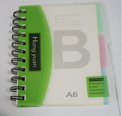 A6 double spiral 3-subject business mini notebook