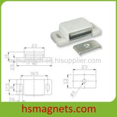 White Permanent Block Neodymium Magnet Magnetic Door Catcher Assembly