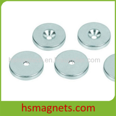 Zn Coating Sintered NdFeB Countersunk Pot Magnet