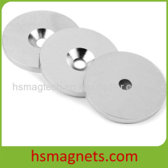 Ni-Cu-Ni Plated N40 Sintered NdFeB Countersunk Pot Magnets