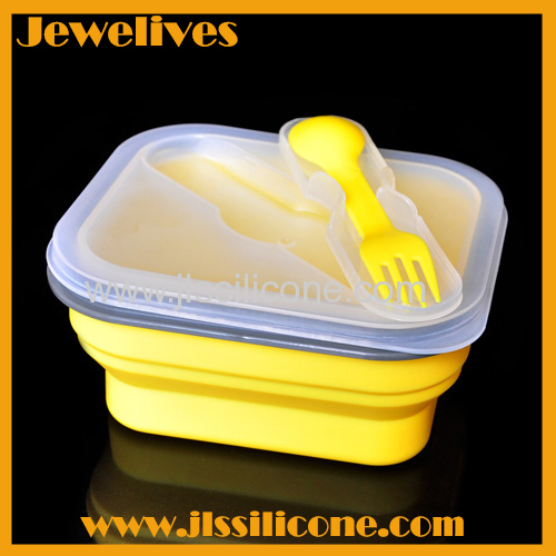 For 2014 Portable Travel foldable locked Silicone Lunch Box