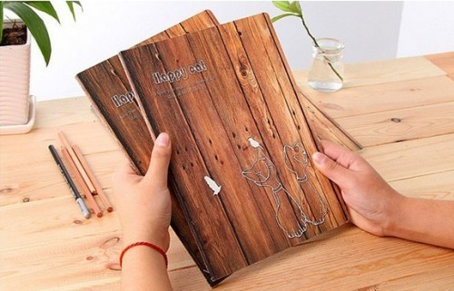 kids like| wood texture composition book|wide rule A5