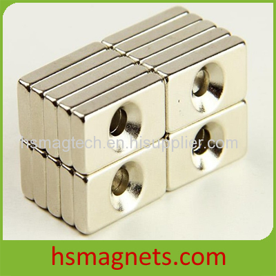 Strong block neodymium magnet with countersunk hole