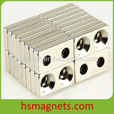 High Powerful Countersunk Neodymium Block Magnet with Two Holes
