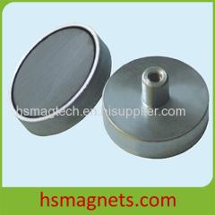 Feamale Threaded Sintered Hard Ferrite / Ceramic Pot Magnet