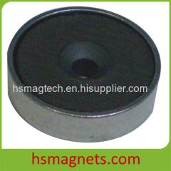 Customized Countersunk Pot Hard Ferrite / Ceramic Magnet
