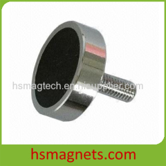 Sintered Pemanent Hard Ferrite Pot Magnet with Threaded Screw