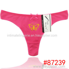 2014 new embroidery cotton g-string hot lady thong sexy Underpants lady panties women underwear girl t-back