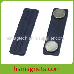 Black Magnetic Name Badge with Adhesive