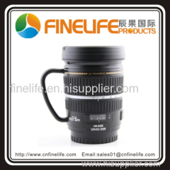Stainless gallbladde Camera lens Coffee mug with handle