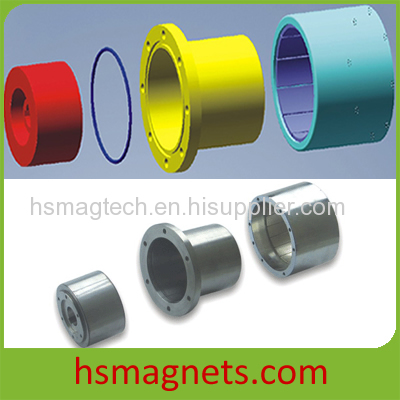 Magnetic coupling connects motor and machine
