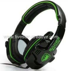 Sades SA-708 Cool Stereo Gaming Over-Ear Headset With Mic&Remoter Black/Green