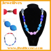 2 shape beads silicone necklace