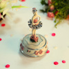 POLYRESIN ROUND WIND UP MUSIC BOX ROTATING BALLERINA GIRL