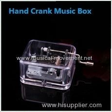 Acrylic Clear Square Hand Cranked Music Box Silver Mechanism