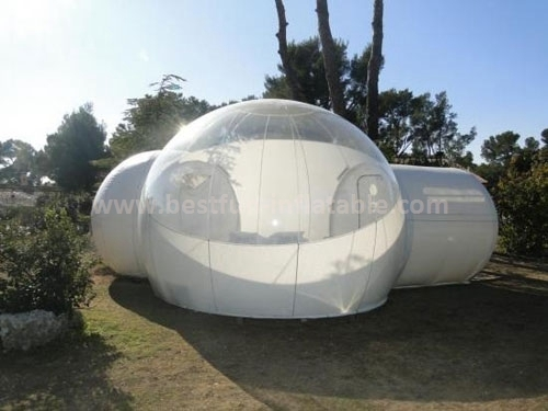 Rugged beauty of transparent bubble tent camping