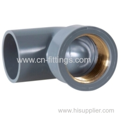 upvc 90 degree elbow with copper thread pipe fitting
