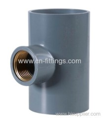 upvc female tee with copper thread pipe fitting