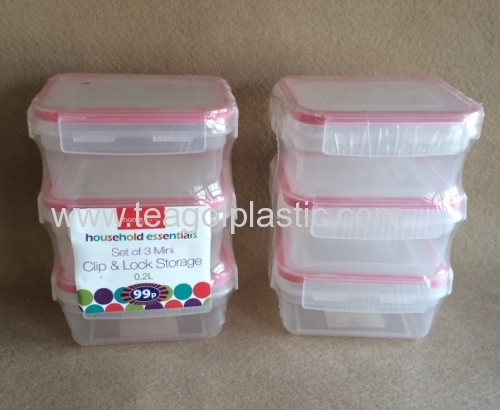 3 PACK mini clip lock storage containers Rect 02L plastic from