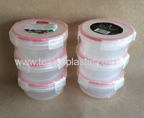 3PACK Mini clip lock storage containers round plastic 02L from