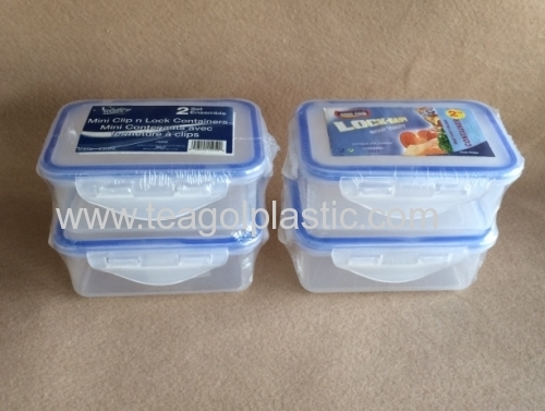 2PACK mini clip lock storage containers Rect 025L plastic from