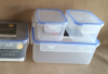 Set of 3 plastic lockable food containers rect.