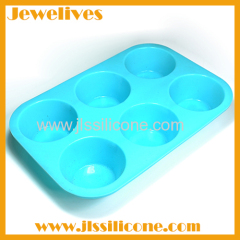 Colorfast silicone cake mold 6 cavities