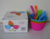 Set of 4 plastic ice cream bowls and spoons set in color box packing