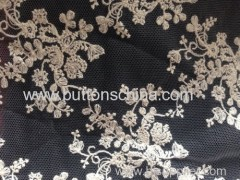 cotton thread embroidery lace with mesh bottom