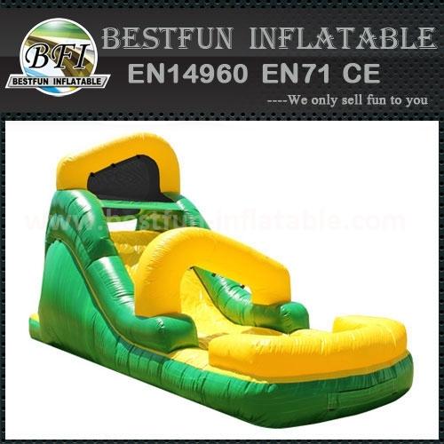 Family backyard green inflatable water slide