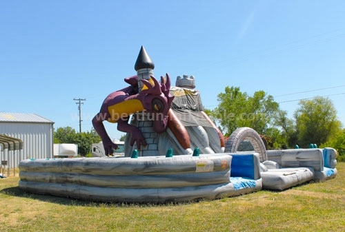 Grateful inflatable dragon jumping castles obstacle course