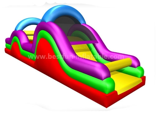 Inflatable obstacle course with slide and tunnel