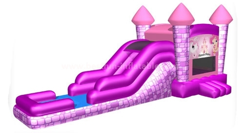 Pink princess inflatable combo with slide