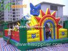 Colored Big Cat Inflatable Backyard Fun City For Bouncy Amusement Park